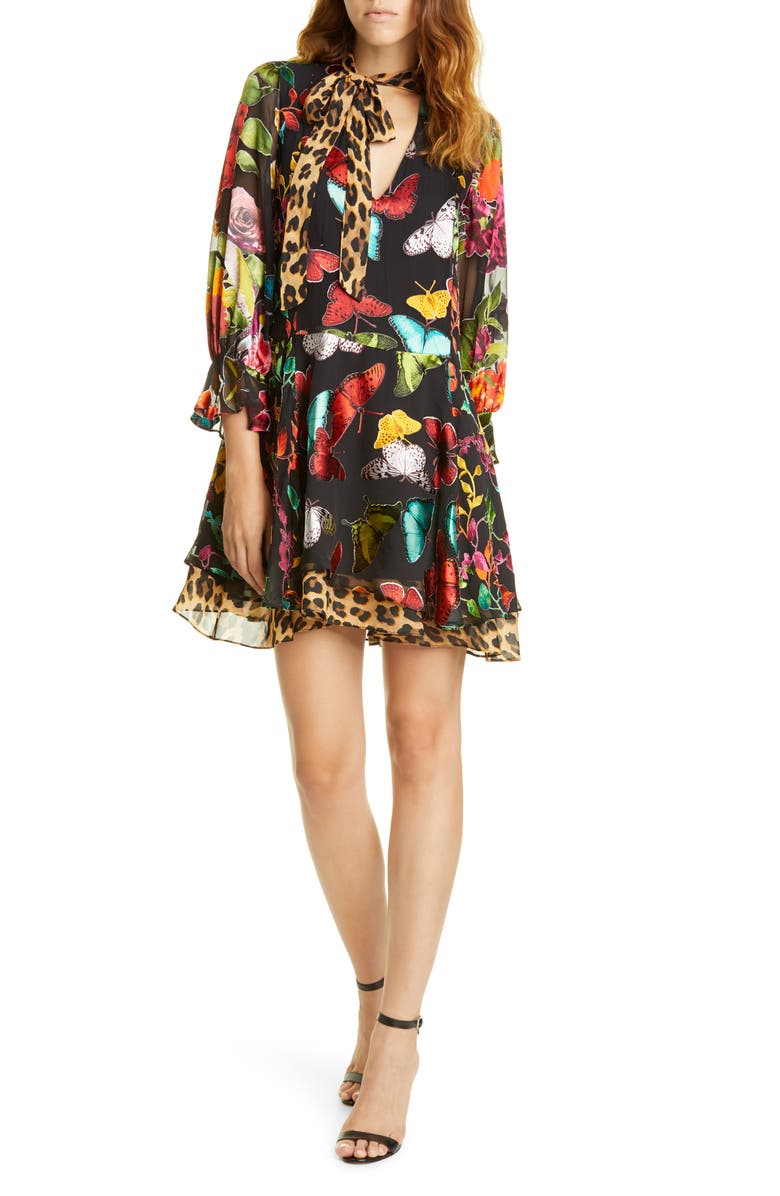ALICE + OLIVIA Moore Layered Butterfly Burnout Minidress, Main, color, BUTTERFLIES/ COMBO