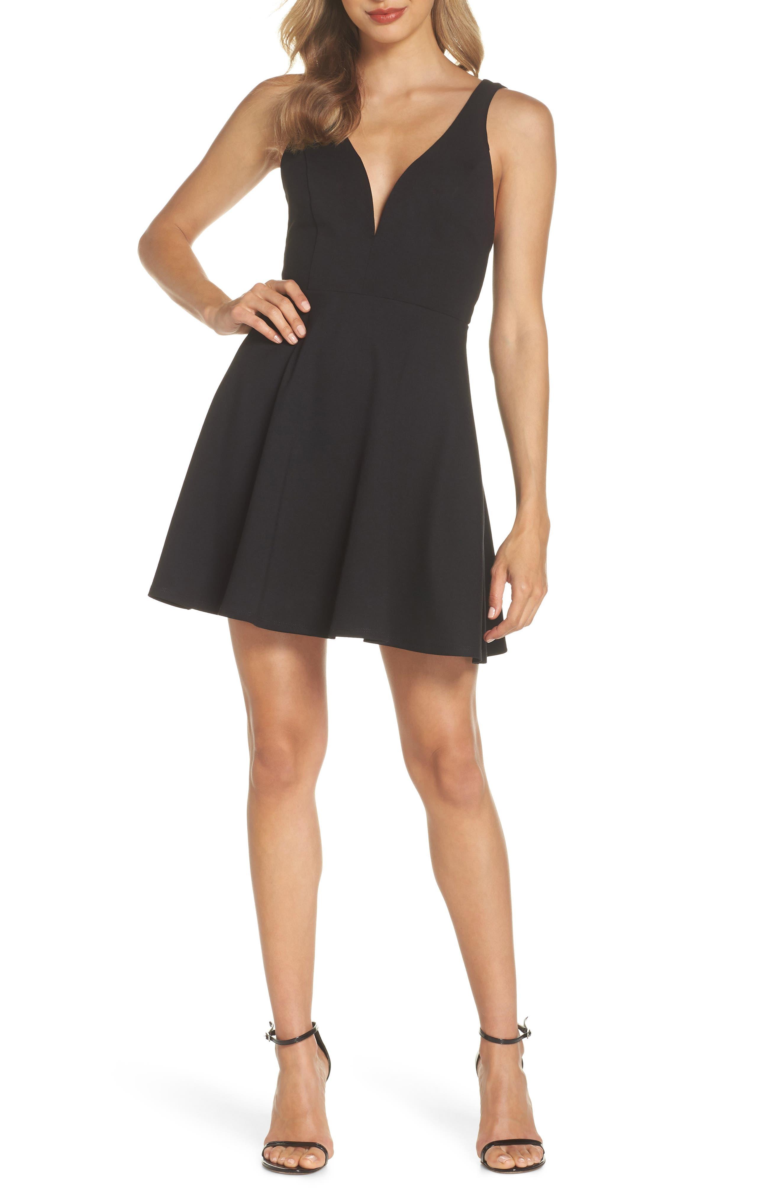 Lulus Love Galore Skater Dress, Black