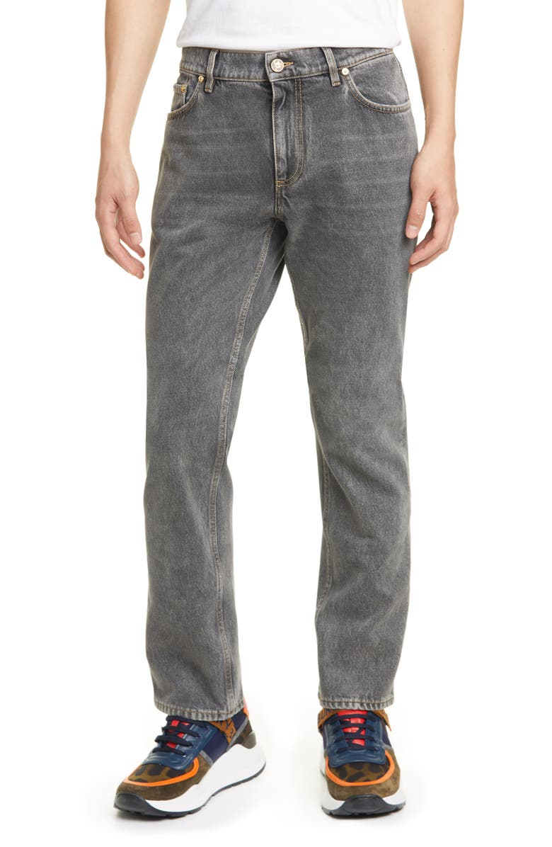 BURBERRY Straight Leg Jeans, Main, color, 020