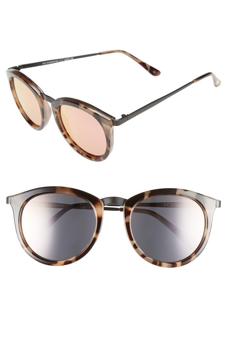 LE SPECS 'No Smirking' 50mm Round Sunglasses, Main, color, VOLCANIC TORTOISE/ BLACK