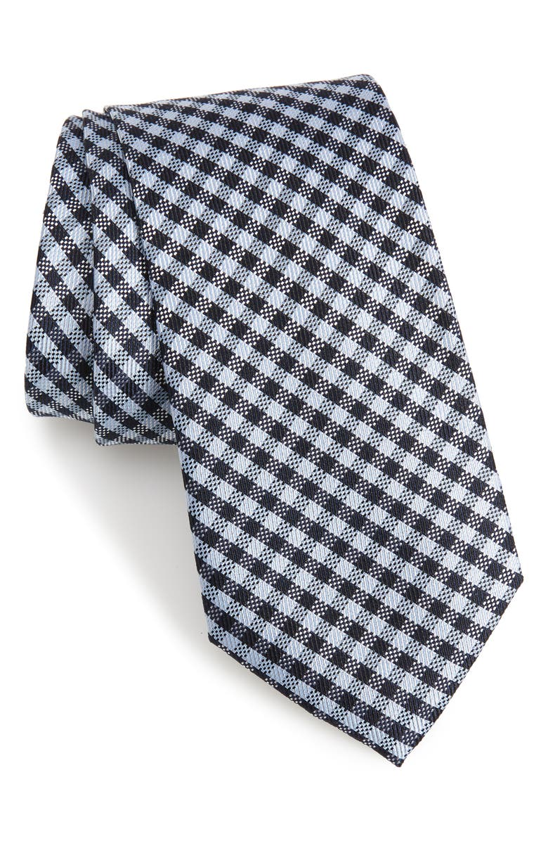 CALIBRATE Fiswell Check Silk Tie, Main, color, NAVY