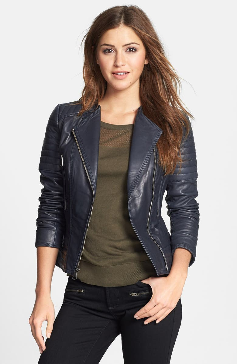 MARC NEW YORK Channel Quilt Leather Moto Jacket, Main, color, 402