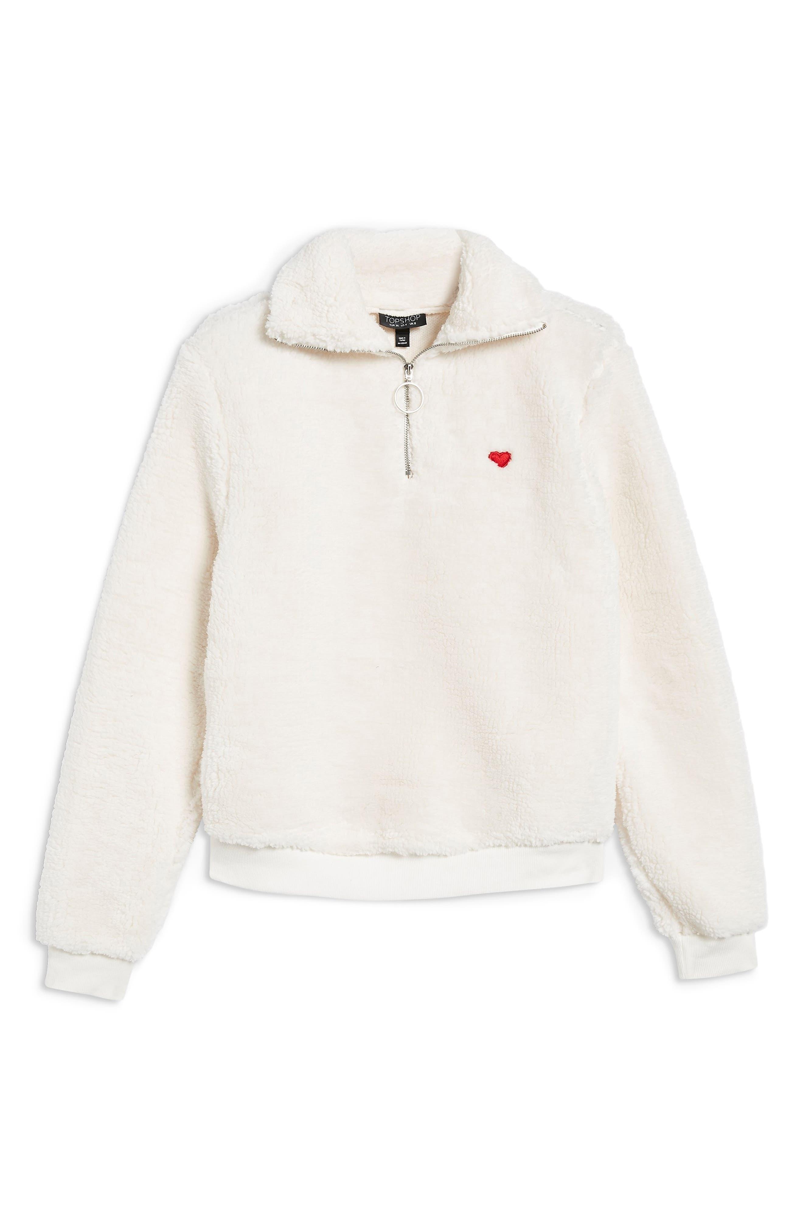 ,                             Borg Heart Quarter Zip Pullover,                             Alternate thumbnail 21, color,                             900