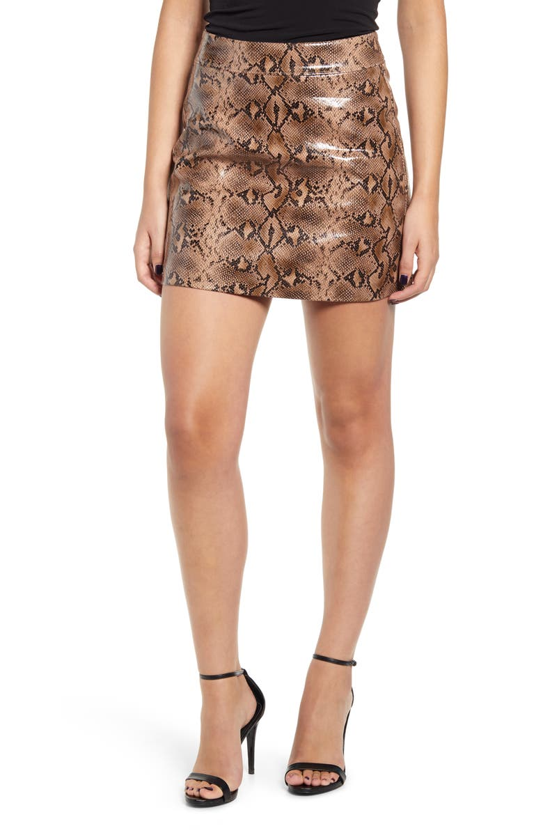 BLANKNYC Faux Leather Miniskirt, Main, color, ANACONDUH
