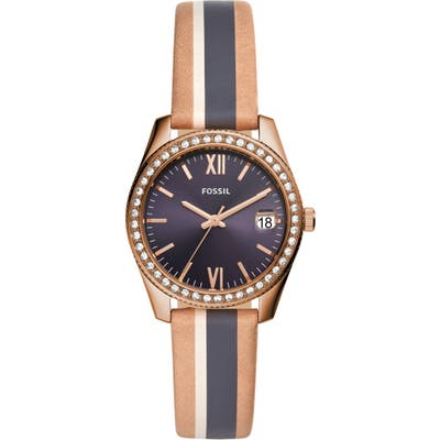 Fossil Scarlette Crystal Leather Strap Watch, 32Mm