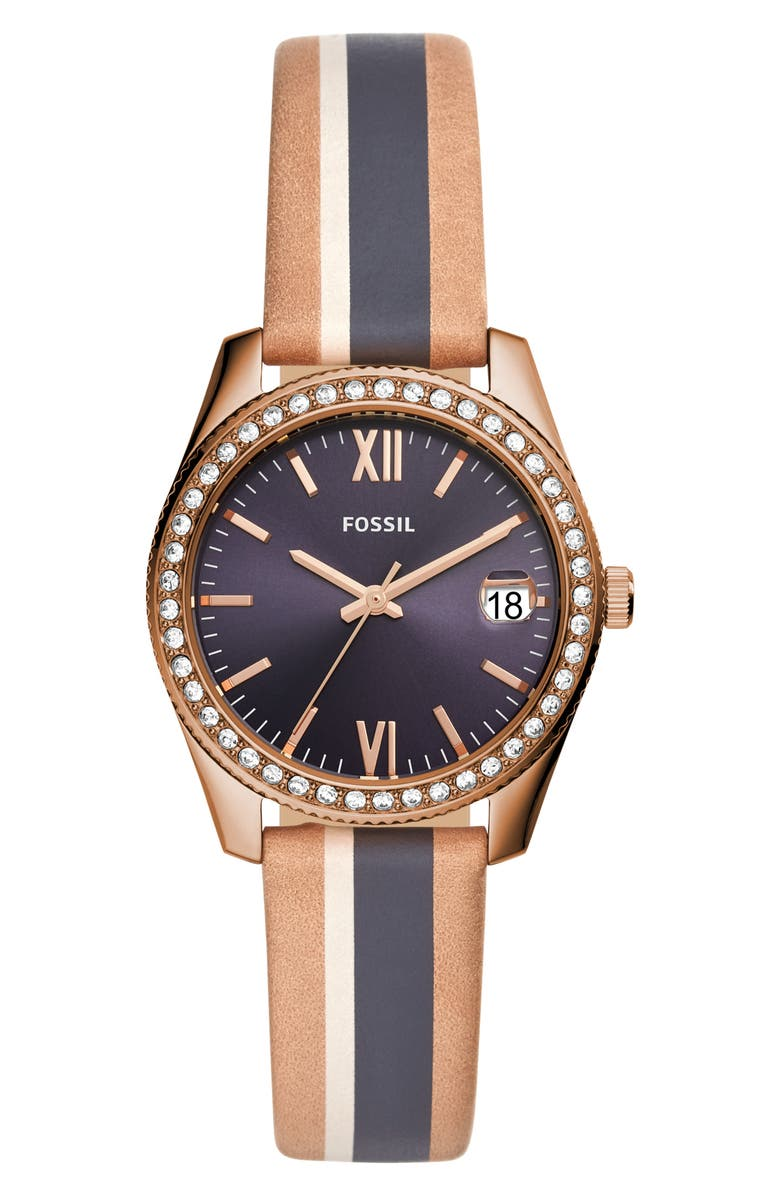 FOSSIL Scarlette Crystal Leather Strap Watch, 32mm, Main, color, NAVY/ BEIGE/ ROSE GOLD
