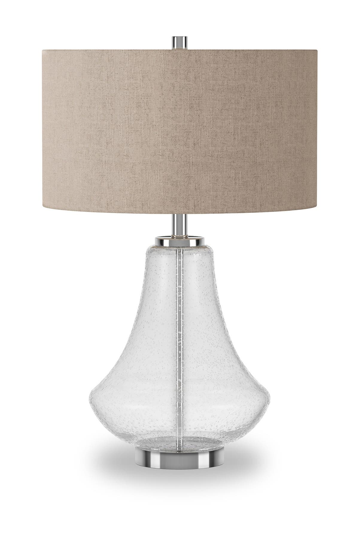 Image of Addison and Lane Lagos Table Lamp - Polished Nickel & Seeded Glass with Linen Shade