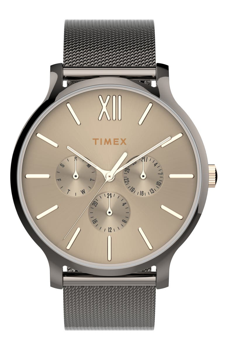 TIMEX<SUP>®</SUP> Transcend Multifunction Mesh Strap Watch, 38mm, Main, color, GUNMETAL