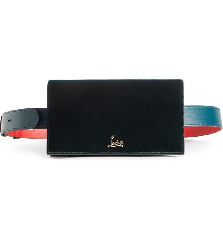 CHRISTIAN LOUBOUTIN Boudoir Velvet Belt Bag, Main, color, VOSGES/ GOLD