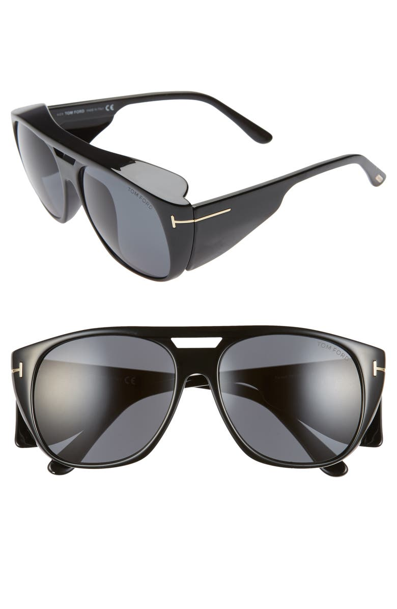TOM FORD Fender 56mm Square Sunglasses, Main, color, SHINY BLACK/ SMOKE