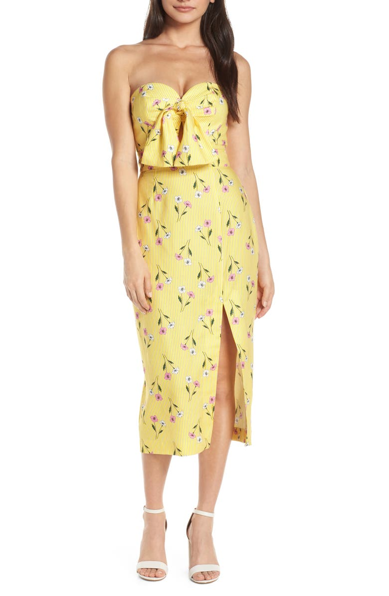 FINDERS KEEPERS Limoncello Strapless Midi Dress, Main, color, 722