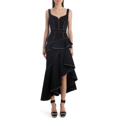 Alexander Mcqueen Contrast Stitch Asymmetrical Denim Dress, 8 IT - Black