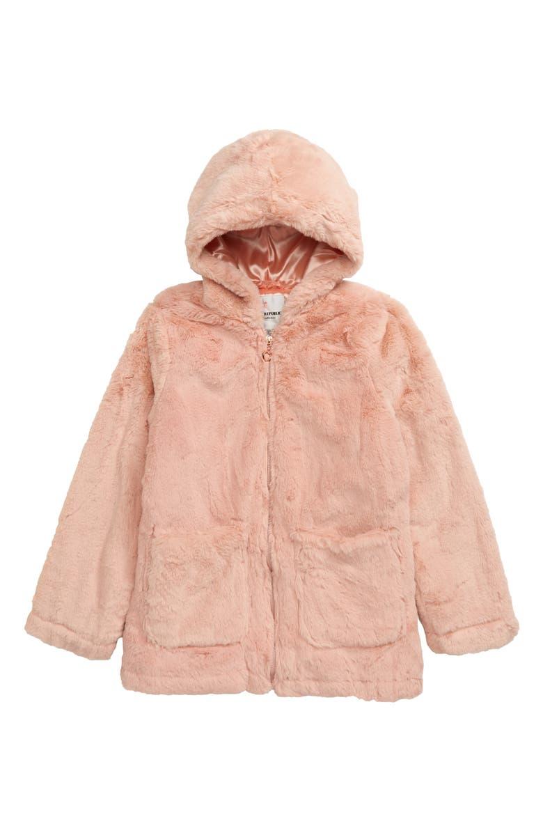 URBAN REPUBLIC Hooded Faux Fur Jacket, Main, color, ROSETTE PINK