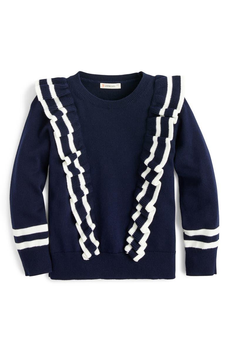 CREWCUTS BY J.CREW Ruffle Trim Cotton Sweater, Main, color, 410