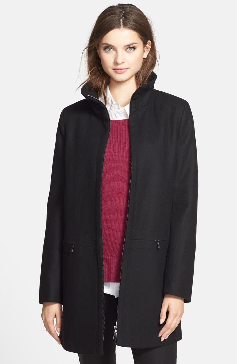 LARRY LEVINE Stand Collar Wool Blend Coat, Main, color, Black