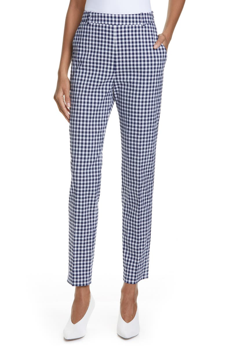 HUGO Helisy Check Ankle Trousers, Main, color, OPEN MISCELLANEOUS