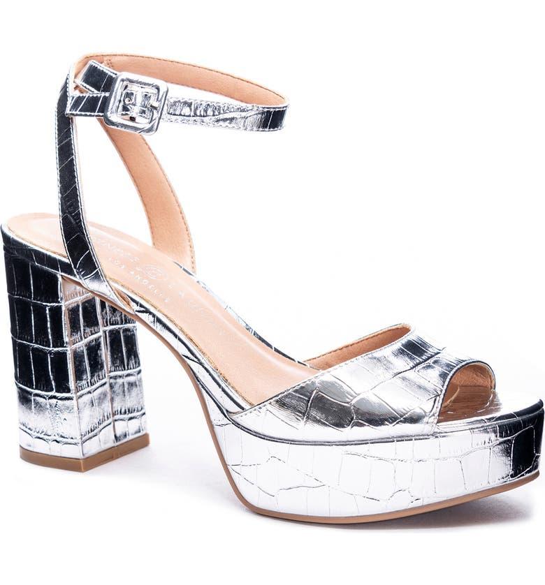 CHINESE LAUNDRY Theresa Platform Sandal, Main, color, SILVER PATENT CROCODILE