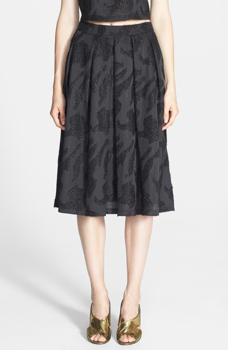 ASTR THE LABEL ASTR Metallic Jacquard Pleated Midi Skirt, Main, color, 001