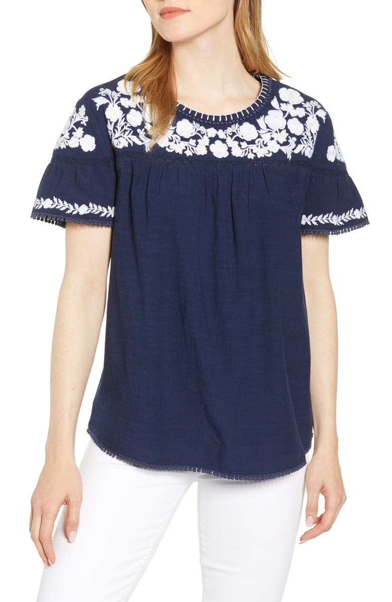 Embroidered Yoke Top, Main, color, NAVY- WHITE FLORAL
