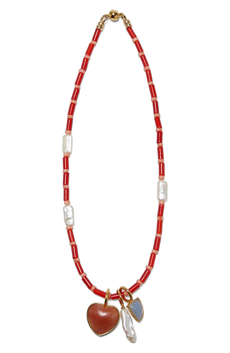 LIZZIE FORTUNATO Catalina Charm Necklace, Main, color, RED