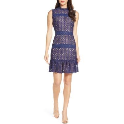 Chelsea28 Mock Neck Lace Sheath Dress, Blue