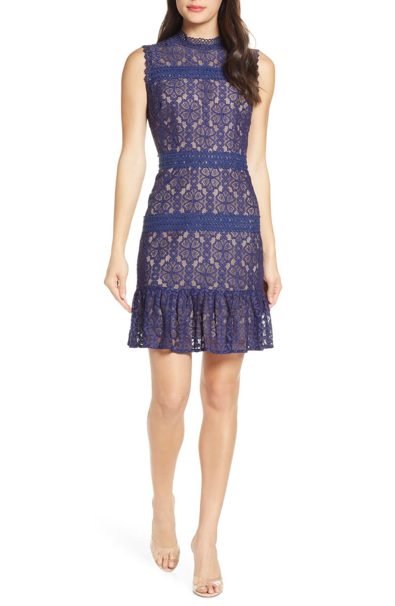 CHELSEA28 Mock Neck Lace Sheath Dress, Main, color, 410