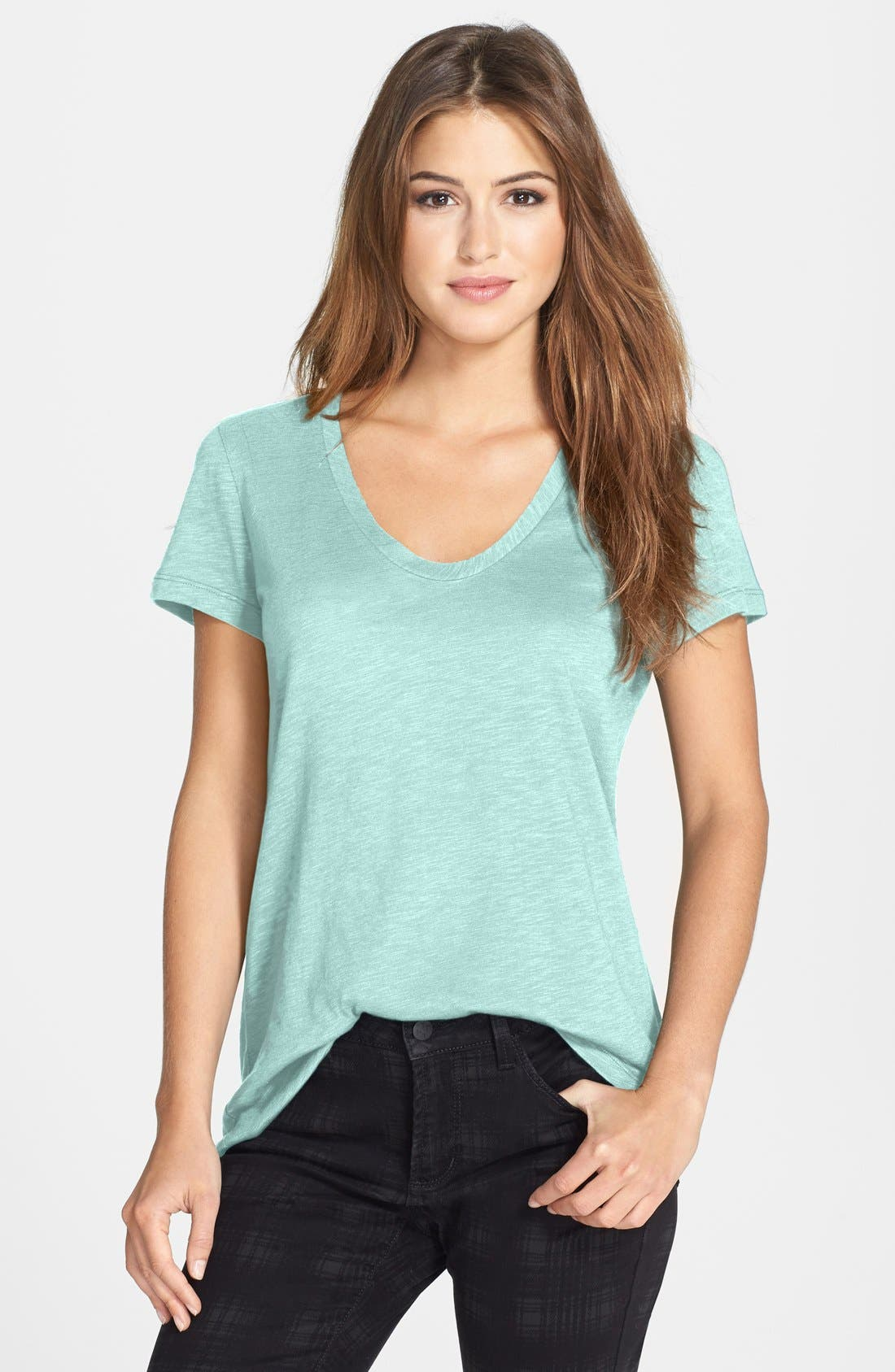 ,                             Relaxed Slub Knit U-Neck Tee,                             Main thumbnail 266, color,                             445