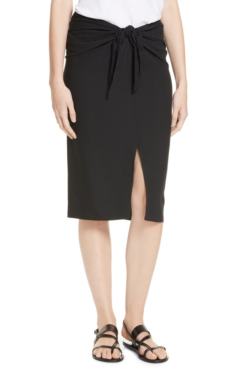 JENNI KAYNE Crepe Tie Skirt, Main, color, BLACK