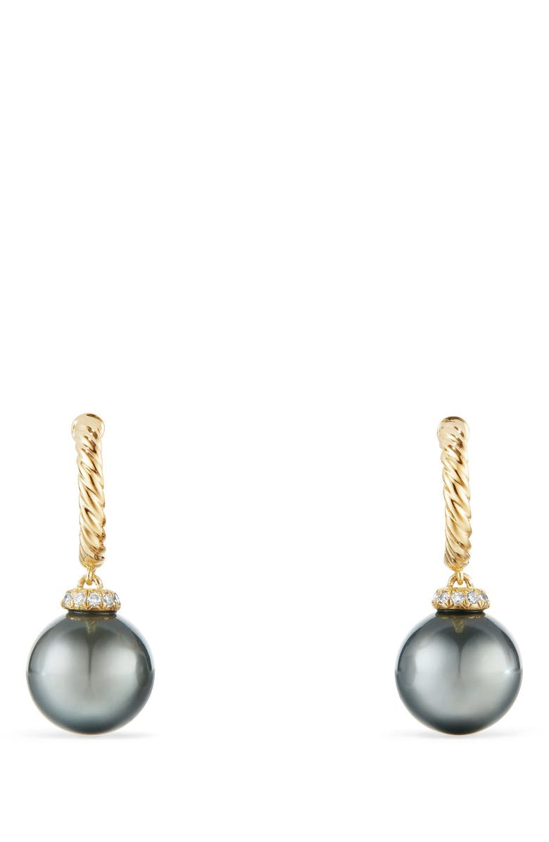 DAVID YURMAN Solari Hoop Earrings with Diamonds and Genuine Pearl, Main, color, GOLD/ DIAMOND/ GREY PEARL