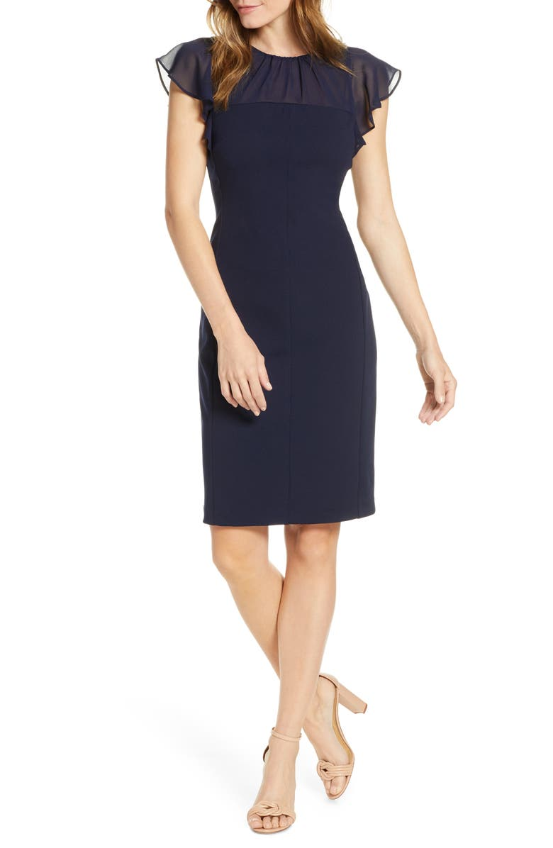 HARPER ROSE Chiffon Yoke Sheath Dress, Main, color, NAVY