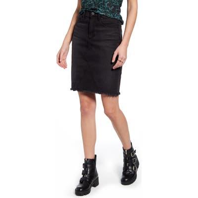 Articles Of Society Sherry Raw Hem Denim Skirt, Black