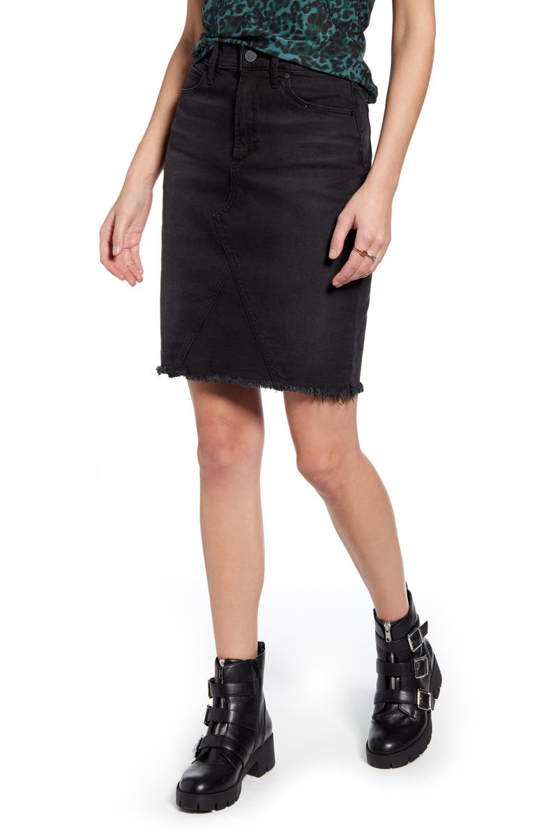 ARTICLES OF SOCIETY Sherry Raw Hem Denim Skirt, Main, color, 001