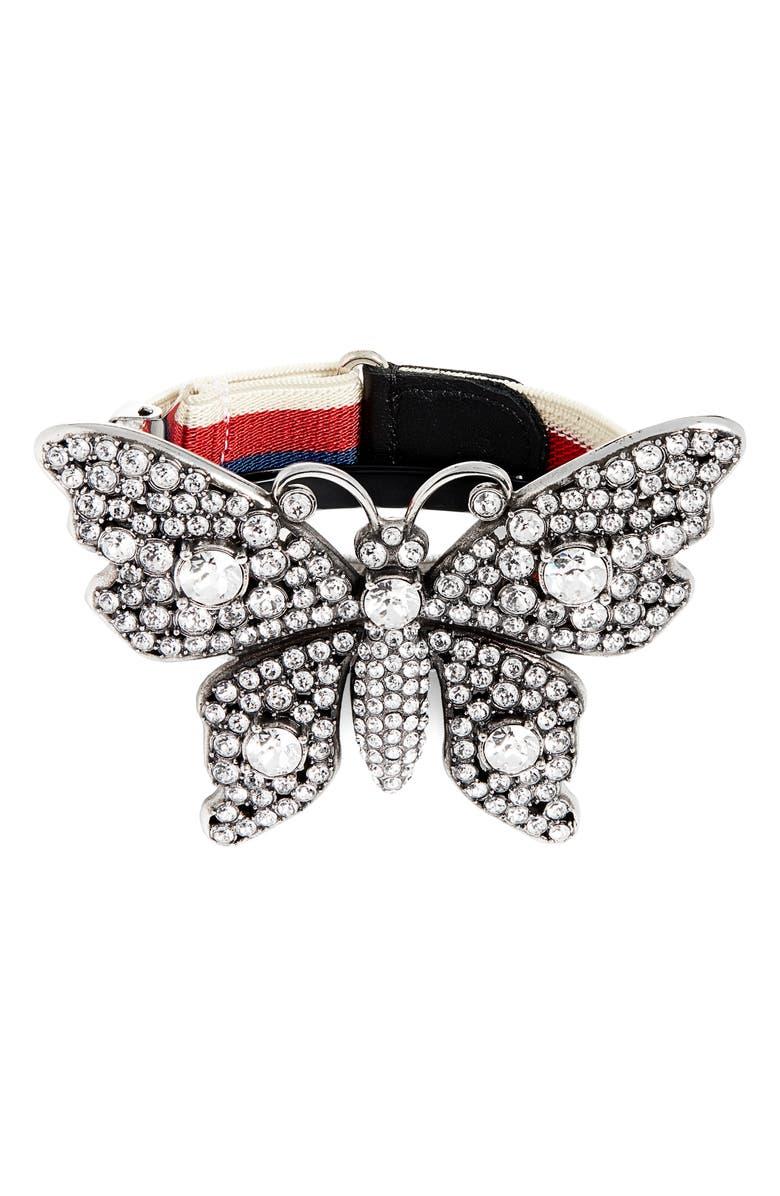 GUCCI Crystal Embellished Butterfly Web Bracelet, Main, color, 040