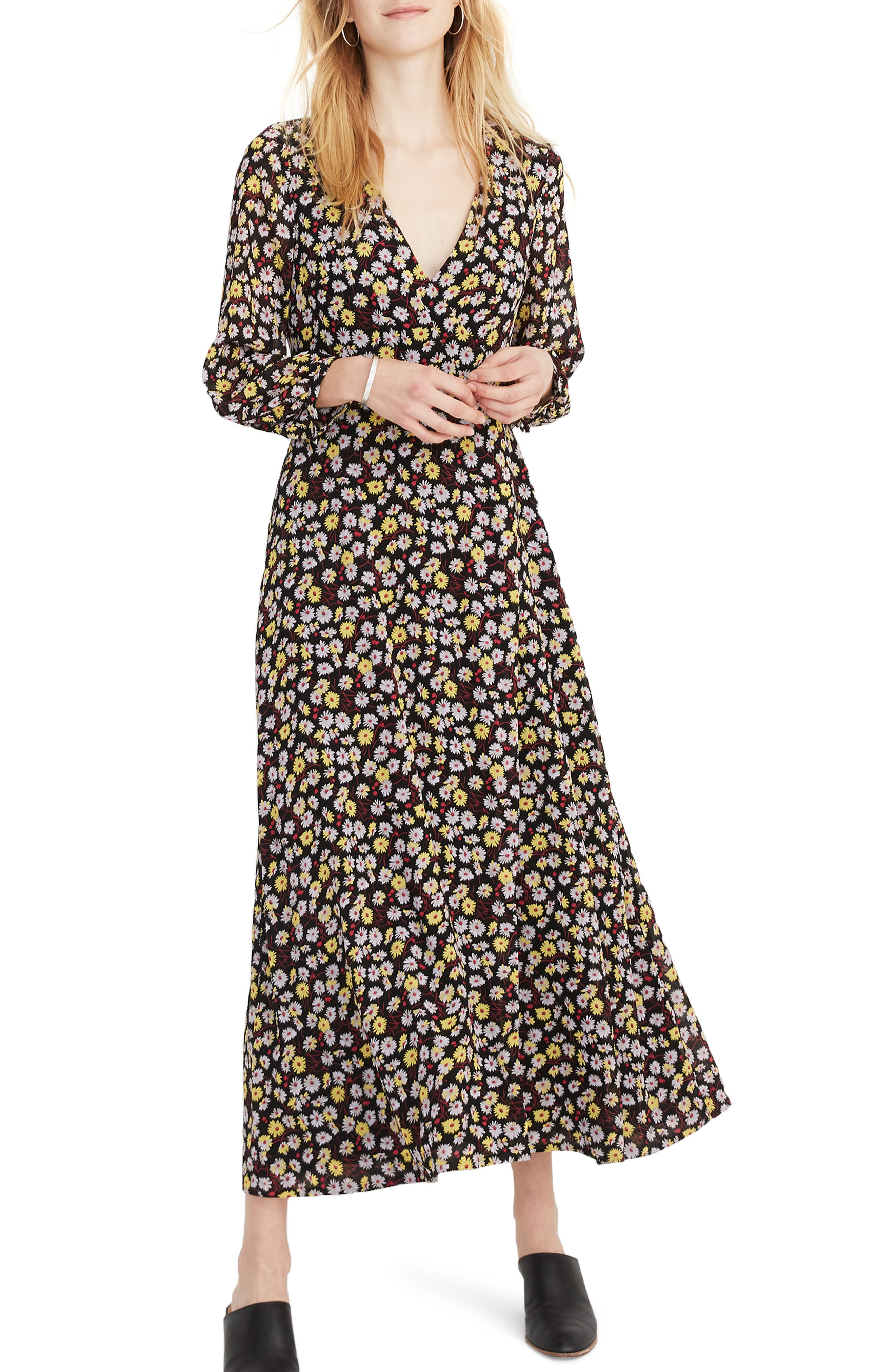 Madewell Long Sleeve Wrap Front Maxi Dress, Black