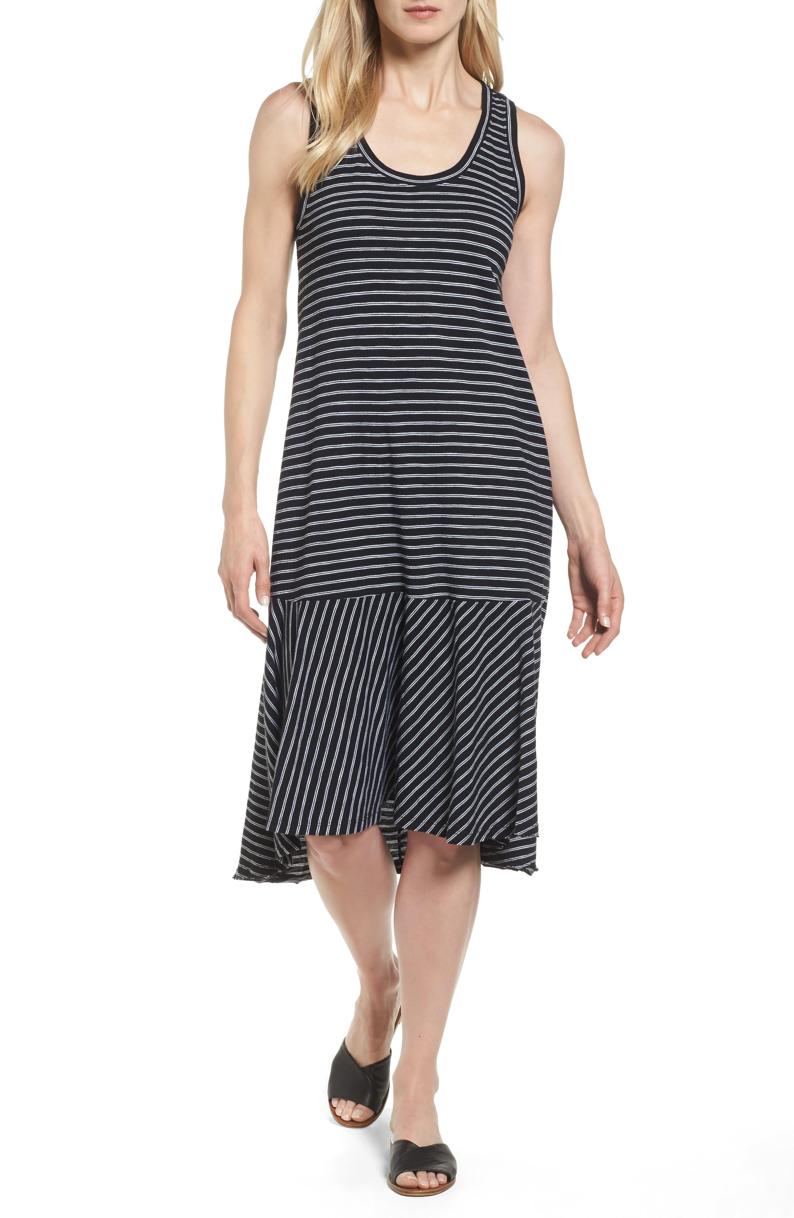 Petite Caslon Drop Waist Jersey Dress, Black