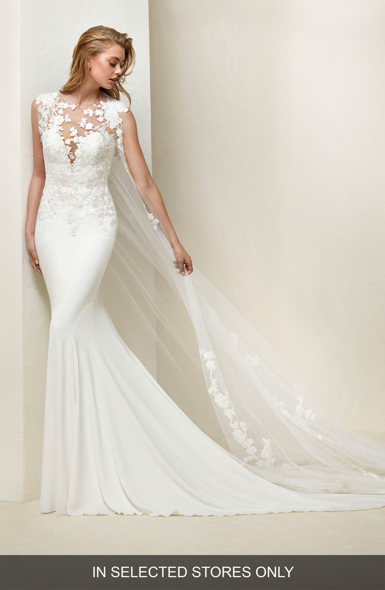 PRONOVIAS Drail Tulle & Crepe Mermaid Gown, Main, color, OFF WHITE
