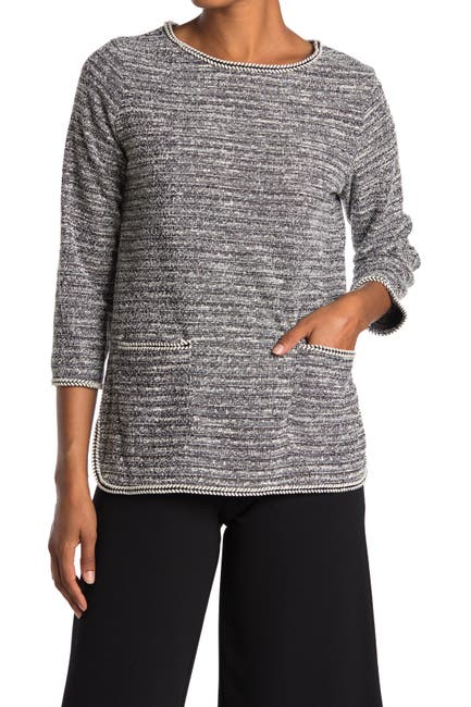 Image of Max Studio Space Dye 3/4 Sleeve Patch Pocket Top