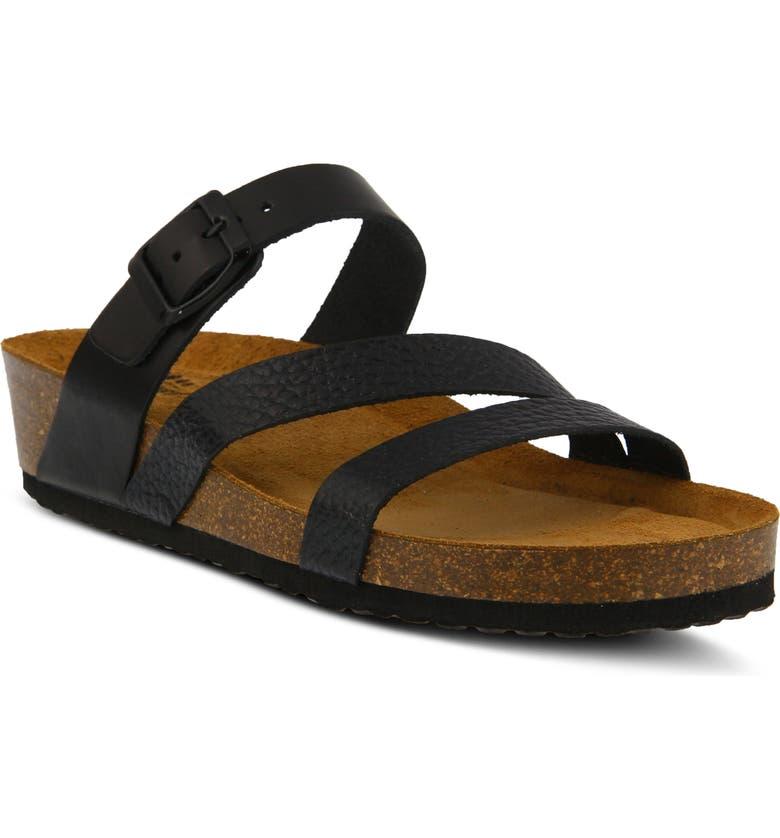 SPRING STEP Flossie Slide Sandal, Main, color, BLACK/ BLACK LEATHER