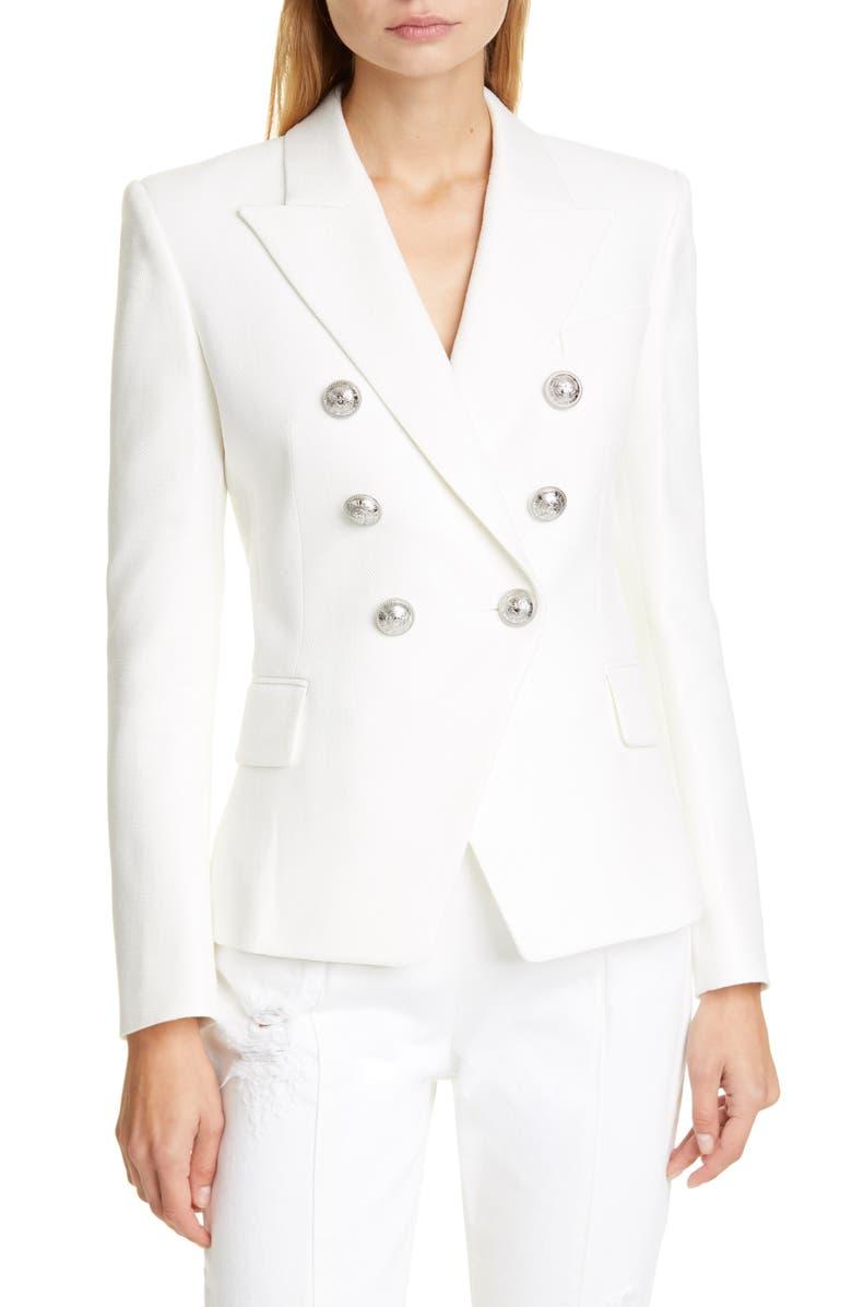 BALMAIN Double Breasted Blazer, Main, color, NATURAL