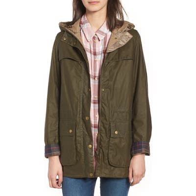 Barbour Durham Lightweight Wax Cotton Jacket, US / 12 UK - Green