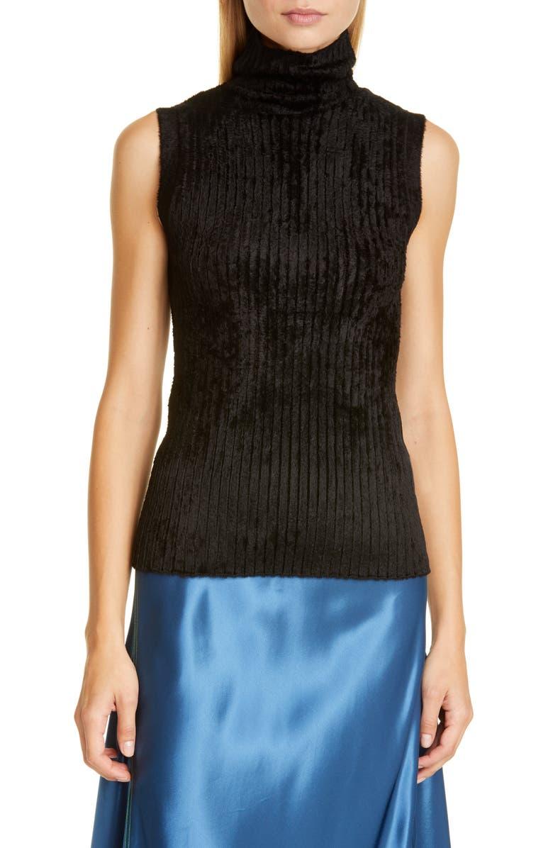 SIES MARJAN Saya Rib Chenille Turtleneck Sweater, Main, color, BLACK