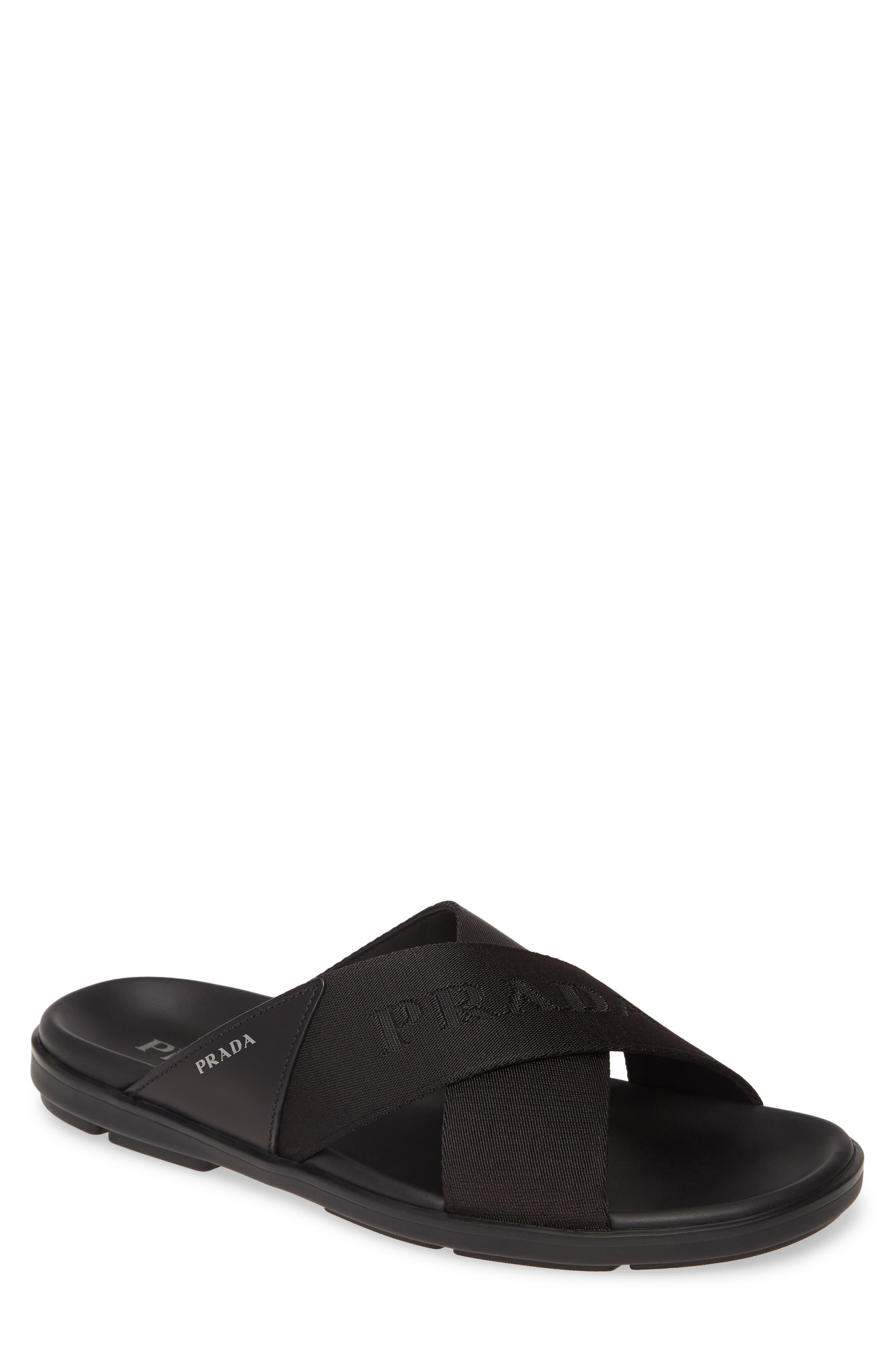 Prada Spazzolato Slide Sandal (Men