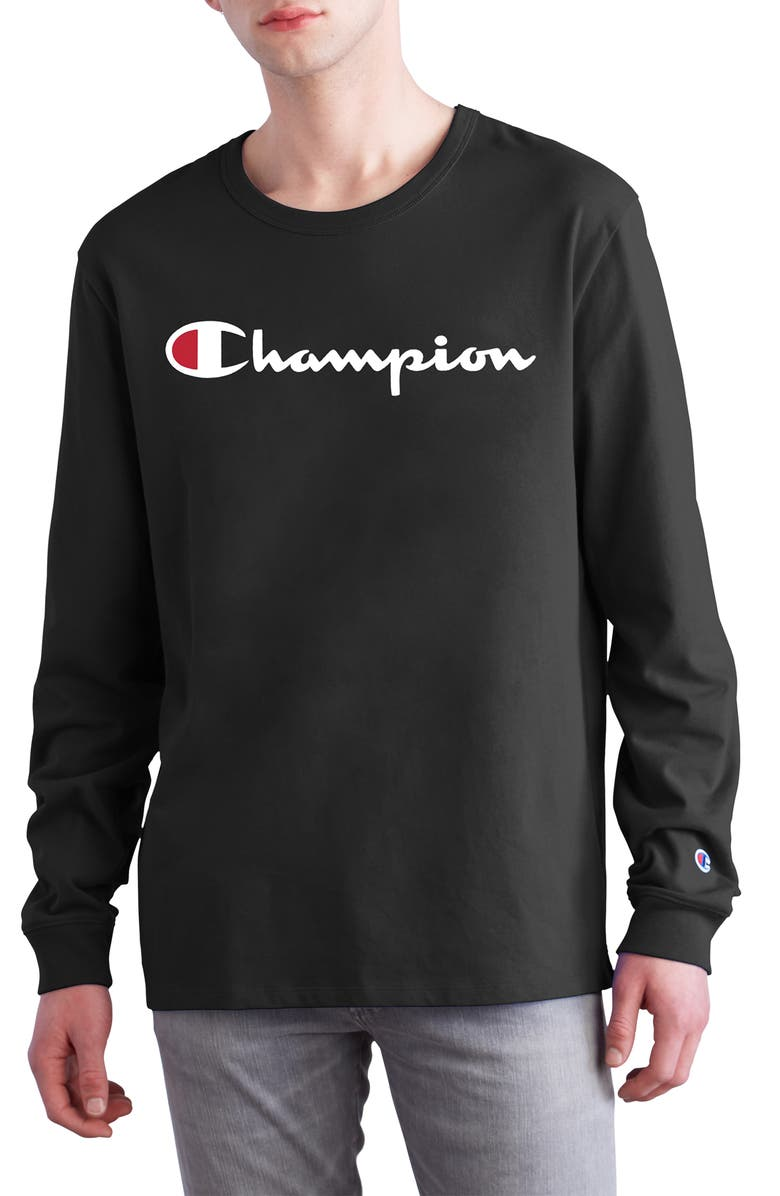 CHAMPION Heritage Long Sleeve Logo T-Shirt, Main, color, BLACK