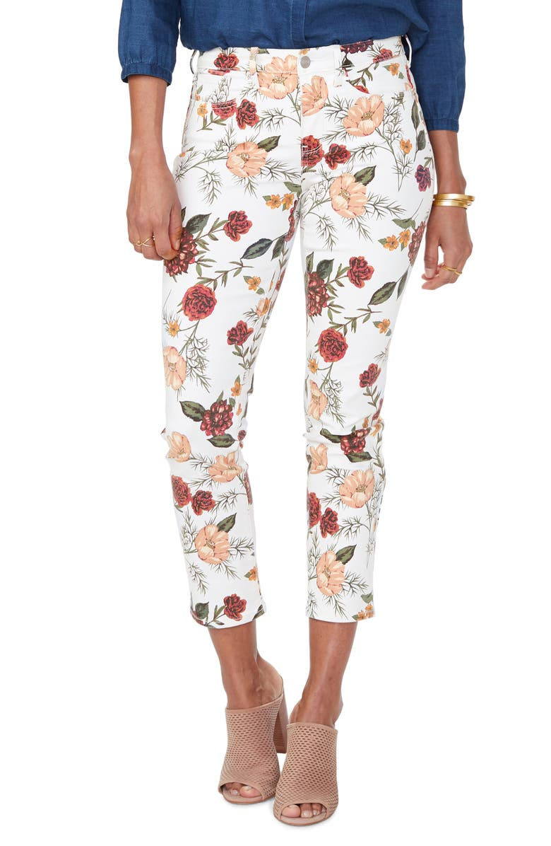 NYDJ Sheri Print Ankle Skinny Jeans, Main, color, SANTA ROSA BLOOMS VANILLA