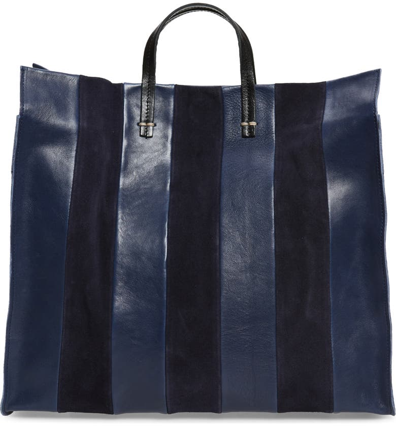 CLARE V. Simple Stripe Leather Tote, Main, color, NAVY
