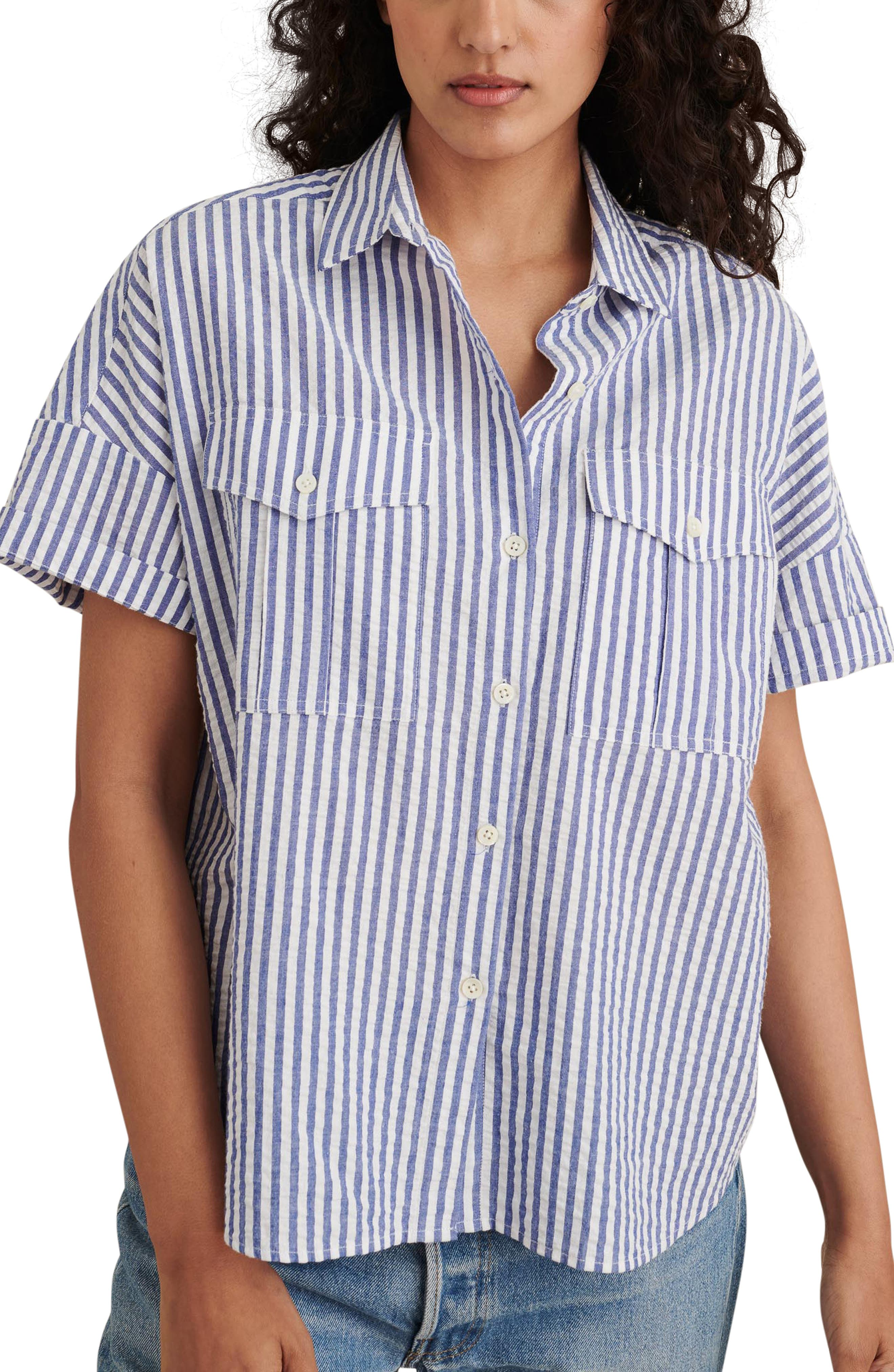 Seersucker Short Sleeve Cotton Safari Shirt