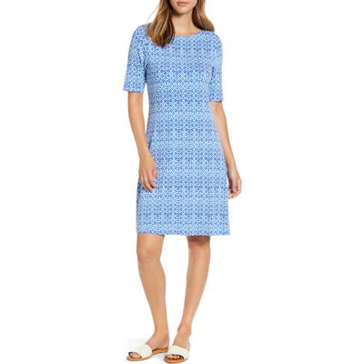 Tommy Bahama Tenali Tiles Short Sleeve Fit & Flare Dress, Blue