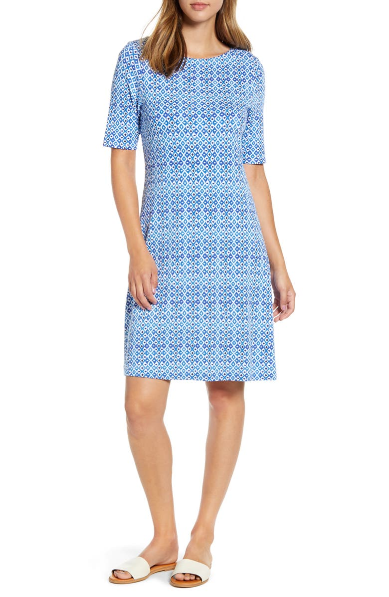 TOMMY BAHAMA Tenali Tiles Short Sleeve Fit & Flare Dress, Main, color, 400