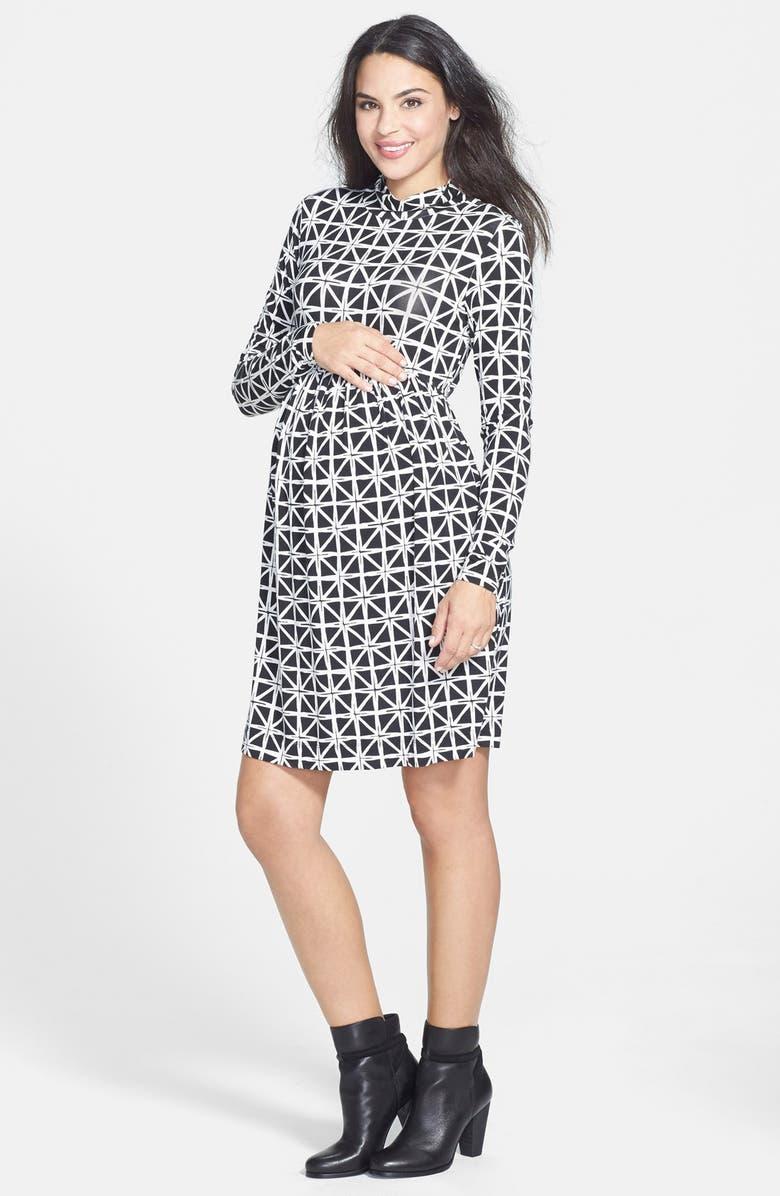 TART MATERNITY 'Rhiannon' Turtleneck Fit & Flare Maternity Dress, Main, color, 001