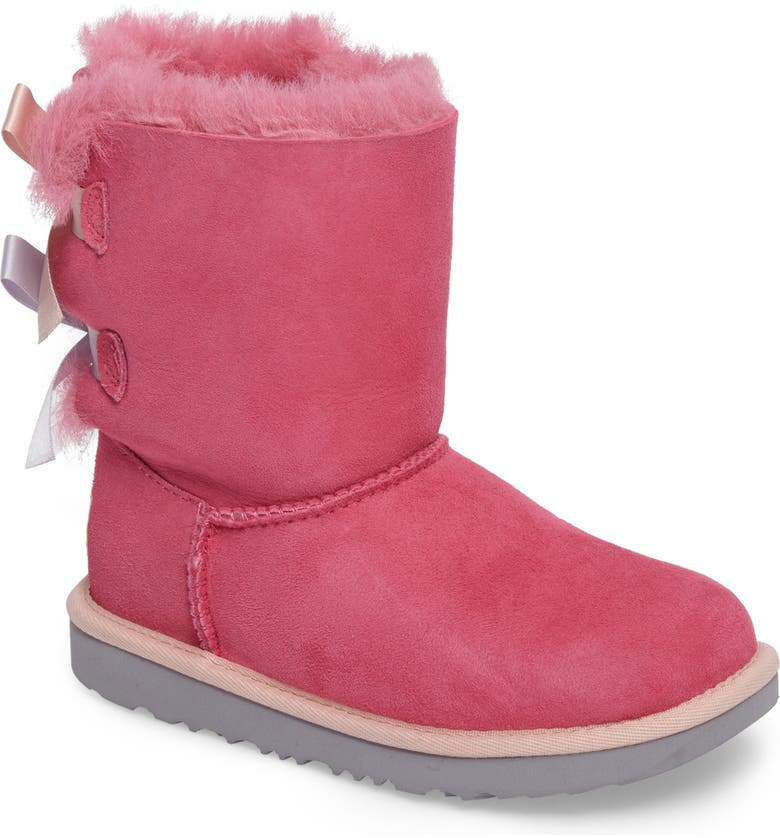 UGG<SUP>®</SUP> Bailey Bow II Water Resistant Genuine Shearling Boot, Main, color, PINK/ BLUE SUEDE